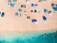 Top View Of Sandy Beach With T...