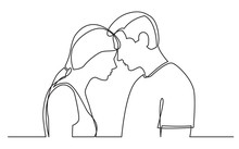 Continuous Line Drawing Of Couple Standing Together On White Background