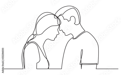 continuous line drawing of couple standing together on white background Canvas