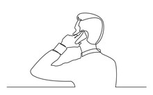 Continuous Line Drawing Of Man Talking On Mobile Pnone