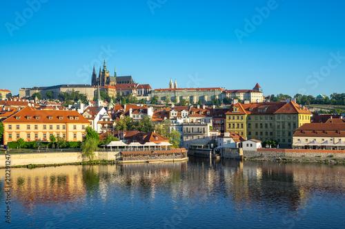 Poster Prague Prague city skyline with view of Vltava River in Prague, Czech Republic