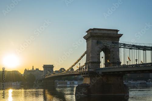 Keuken foto achterwand Boedapest Szechenyi Chain Bridge in Budapest city, Hungary