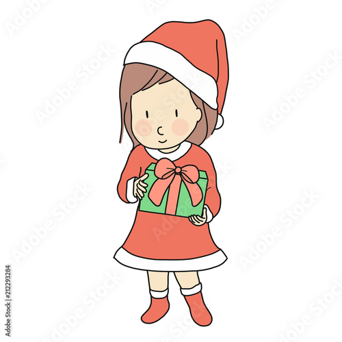 Vector Illustration Of Little Kid Girl In Red Santa Claus