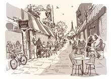 Street Cafe In The City. Bicyc...