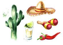 Mexico Set. Cactus, Sombrero H...