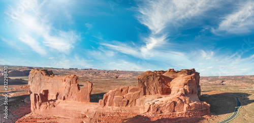 Tableau sur Toile Arches National Park, Utah. Panoramic aerial view at sunset