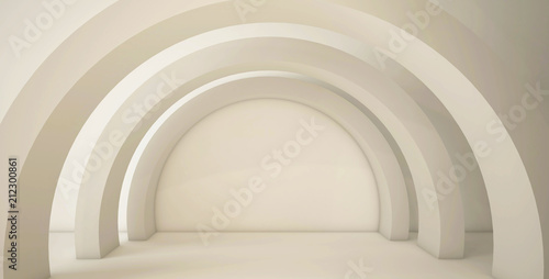 Minimalistic, abstract background with an arch. 3d render, minimal.