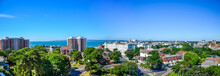 Beautiful Panorama View Of Bournemouth's Town Centre Against Blue Sky On A Sunny Summer Day. Dorset, United Kingdom.