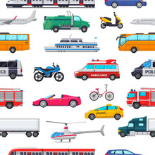 Transport Vector Public Transportable Vehicle Plane Or Train And Car Or Bicycle For Transportation In City Illustration Set Of Ambulance Fire-engine And Police Car Seamless Pattern Background