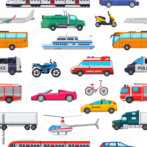 Fotografie, Obraz Transport vector public transportable vehicle plane or train and car or bicycle