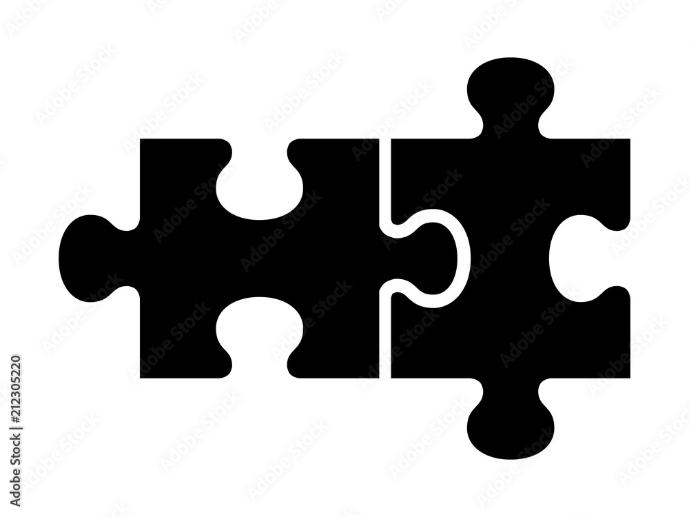 Fototapeta Two pieces of jigsaw puzzle or autism puzzle piece symbol flat vector icon for apps and websites