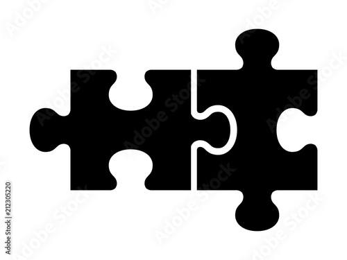 Obraz Two pieces of jigsaw puzzle or autism puzzle piece symbol flat vector icon for apps and websites - fototapety do salonu