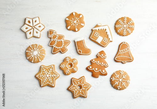 Tasty Homemade Christmas Cookies On Wooden Background Top View
