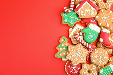 Tasty Homemade Christmas Cookies On Color Background, Top View