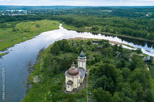 Fotografie, Obraz  Top view of Orthodox Church Of The Resurrection and Vazhinka river