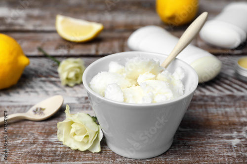 Ingredients for natural homemade deodorant on wooden table Canvas Print