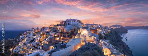 Fototapeta Wunderschöner Sonnenuntergang über Oia Santorini obraz