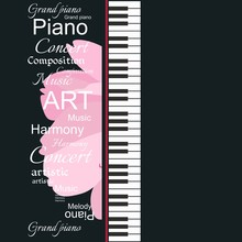 Musical Banner With Piano Keyb...