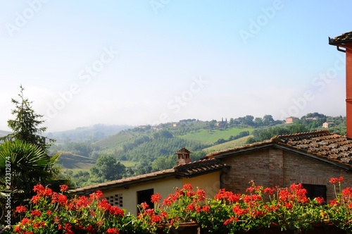 Foto op Canvas Zwart Beautiful landscape of hills, cypress trees and houses in Tuscany, Italy