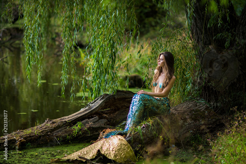 Photographie  Gorgeous woman with long brown hair and dressed like a mermaid sits on the stone