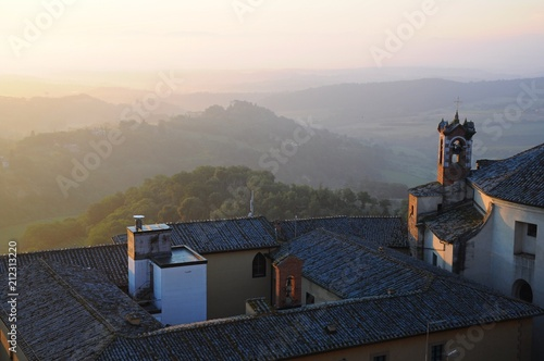Keuken foto achterwand Grijze traf. The City Town and landscape of Montepulciano at sunrise in the morining in Tuscany, Italy