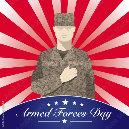 Photo  Armed Forces Day with soldier flat vector style-Vector Illustration