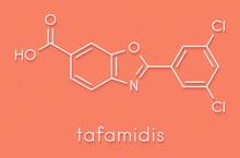 Tafamidis Familial Amyloid Polyneuropathy (FAP) Drug Molecule. Skeletal Formula.