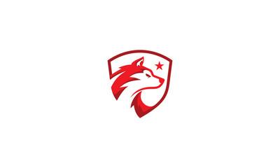wolf dog shield vector logo icon