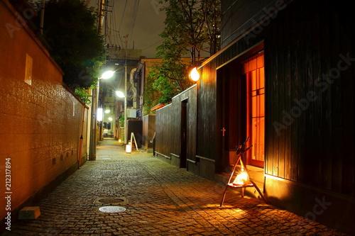Fotografie, Obraz  夜の神楽坂