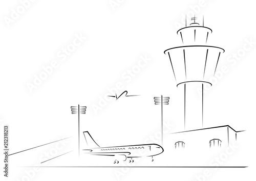 Airport exterior on black and white sketch illustration Fototapeta