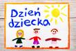 Kolorowy dziecięcy  rysunek wykonany z okazji Dnia Dziecka,