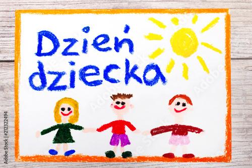 Fototapeta Kolorowy dziecięcy  rysunek wykonany z okazji Dnia Dziecka,  obraz