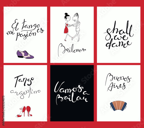 Set Of Tango Cards Templates With Hand Written Lettering Quotes