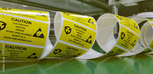 Fotografia  Yellow caution label,Special label symbol for electrostatic sensitive devices