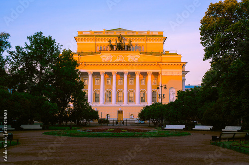 Keuken foto achterwand Theater The legendary Alexandrinsky Theater, fully named by the Russian State Academic A.S. Pushkin Drama Theater, summer morning view