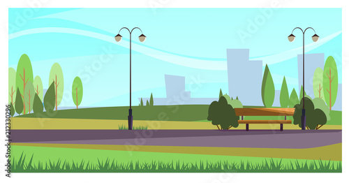 Summer city park with street lights. Beautiful recreation park with green plants. Stroll concept. Illustration can be used for topics like leisure, nature, environment