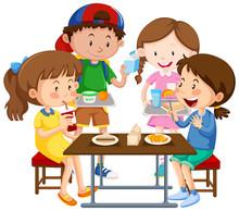 Group Of Children Eating Toget...