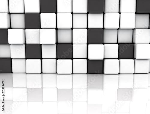 Black and white cubes, illustration