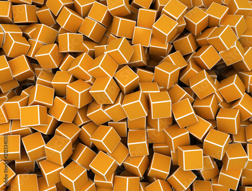 Orange cubes, illustration - 212334030