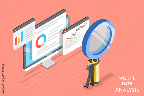 Photo Flat isometric vector concept of website data analysis, web analytics, SEO audit report, marketing strategy