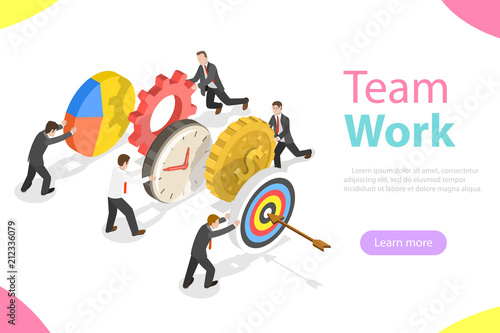 Fotografía  Flat isometric vector concept of effective teamwork, business team, brainstorm