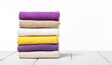 Stack Of Bath Towels On Light ...