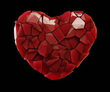 Heart Made Of Plastic Shards Red Color Isolated On Black Background. 3d