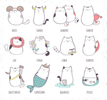 Set Of Cute Cartoon Zodiac Cat...