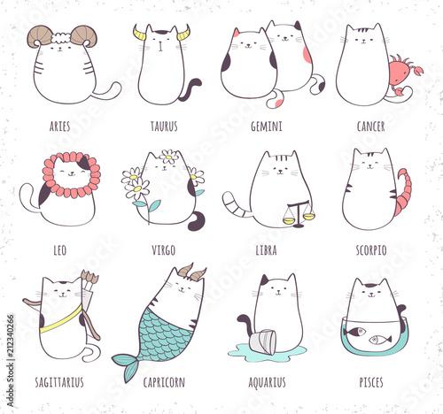 Obraz Set of cute cartoon zodiac cat. Vector illustration of twelve zodiacal symbols collection: Aries, Taurus, Gemini, Cancer, Leo, Virgo, Libra, Scorpio, Sagittarius, Capricorn, Aquarius, Pisces - fototapety do salonu
