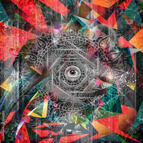Рисованной магия красочный глаз на фоне Земли Земной шар