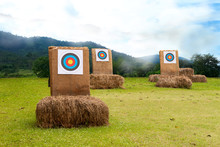 Three Archery Target On The Field