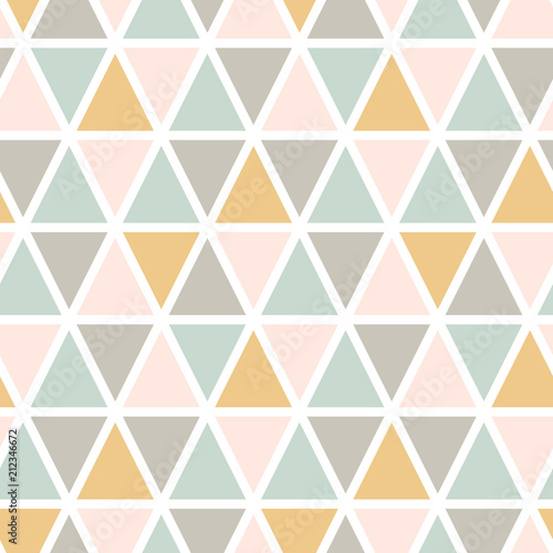 obraz lub plakat Modern abstract seamless triangle pattern. Scandinavian style. Pastel colors Vector background.
