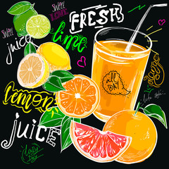 Naklejkachalk drawn fresh juice orange. Colorful Label poster stickers food fruits vegetable chalk sketch style, food and spices. Lemon citrus. Bio eco vegetarian raw farm fresh organic. Hand drawn vector