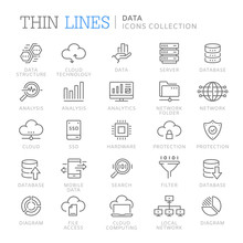Collection Of Data Line Icons